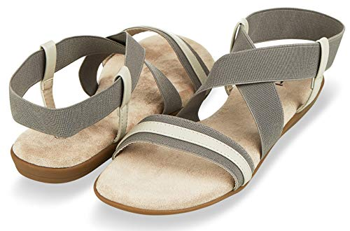 (Floopi Sandals for Women Open Toe, Gladiator Design Summer Sandals | Comfy, Elastic Ankle Strap W/Flat Sole & Memory Foam Insole for Extra Comfort | 0.625