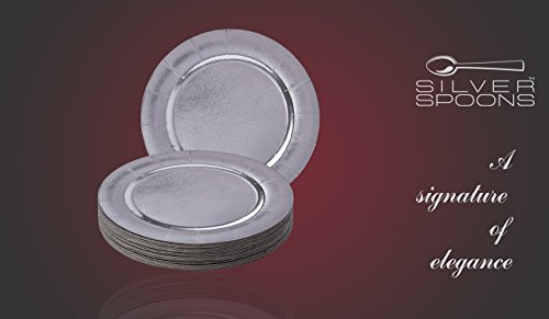DISPOSABLE ROUND CHARGER PLATES - 20pc (Metallic/Silver) by Silver Spoons (Image #1)