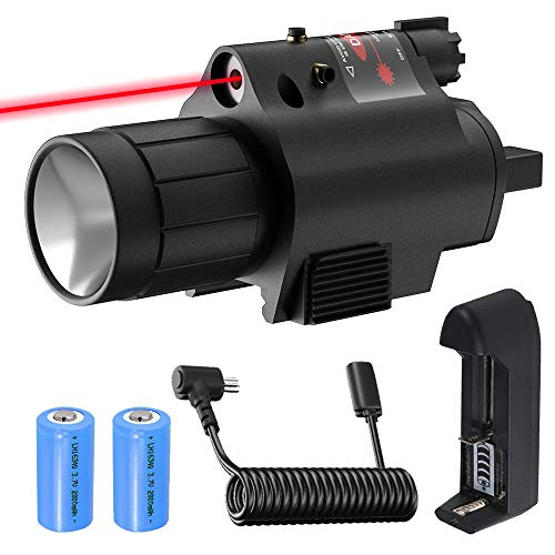 Gogoku Laser Light Combo for Pistol & Handgun Red Laser Sight Flashlight with Rechargeable Battery, Charger & Sight Mount for 20mm Rail