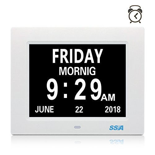 SSA Digital Clock, Day Clock Clear Large Non-Abbreviated Day & Month Wall...
