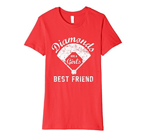 Womens Diamonds are a Girl's Best Friend T Shirt, Softball Mom Gift Medium Red (Softball Mom T-shirt)