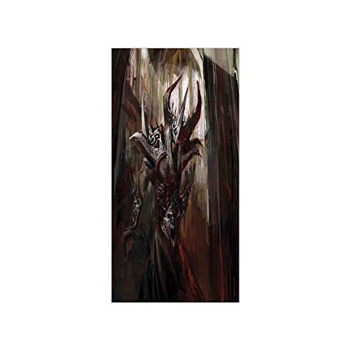 - 3D Decorative Film Privacy Window Film No Glue,Fantasy World,Armored Evil Monster in Cathedral Apocalyptic Imaginary Knight Character Print,Red Grey,for Home&Office