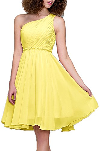 - 99Gown Prom Dresses Short Cocktail Dress One Shoulder Prom Formal Dresses For Women Bridesmaid, Color Daffodil,18W