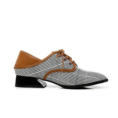de en de Enrejado Mujer de Moda Punta Zapatos de Gran Zapatos Mujer Encaje de únicos de bajo Tamaño White Tacón 68tqwR