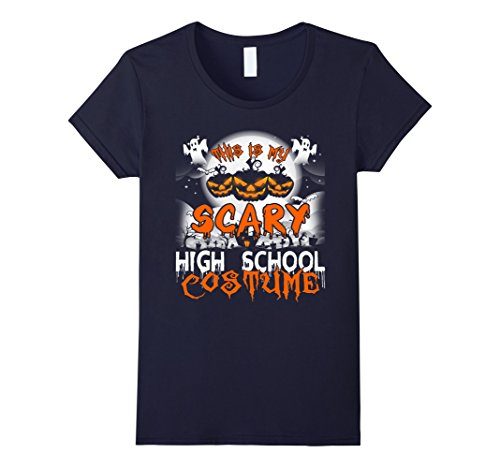Womens This is My Scary High School Costume Halloween Shirt Small Navy