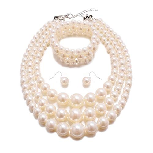 MJULY Womens Faux Pearl Costume Jewelry 3 Layers Pearl Chunky Necklace Bracelet and Earrings (Ivory) ()