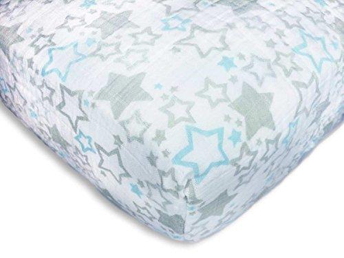 SwaddleDesigns Cotton Muslin Crib Sheet, Pastel Blue & Sterling Starshine Shimmer