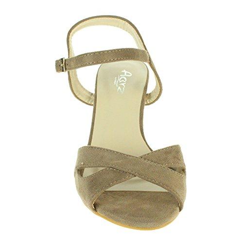 Mujer Señoras Correa cruzada Hebilla Cierre Noche Boda Fiesta Peep Toe Casual Tacón de cuña Sandalias Zapatos Tamaño Taupe