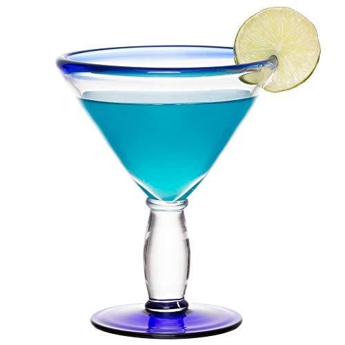12-Pack Aruba Blue Rim Martini Glass 10 oz (Libbey 92305) (Martini Glass Blue)