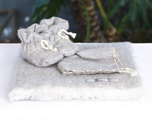 KVH by Kelly Van Halen Baby Alpaca Blanket, Bonnet, and Booty Set in Dove Grey]()