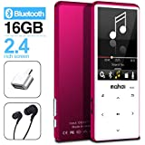 MYMAHDI MP3 Player with Bluetooth 4.2, Touch Buttons with 2.4 inch Screen, 16GB Portable Lossless Digital Audio Player with FM Radio, Voice Recorder, Support up to 128GB, Pink