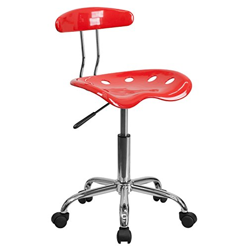 Vibrant Cherry Tomato and Chrome Task Chair with Tractor Seat