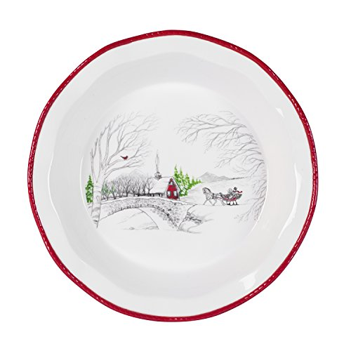Fitz and Floyd Vintage Holiday Collection Pie Dish, White