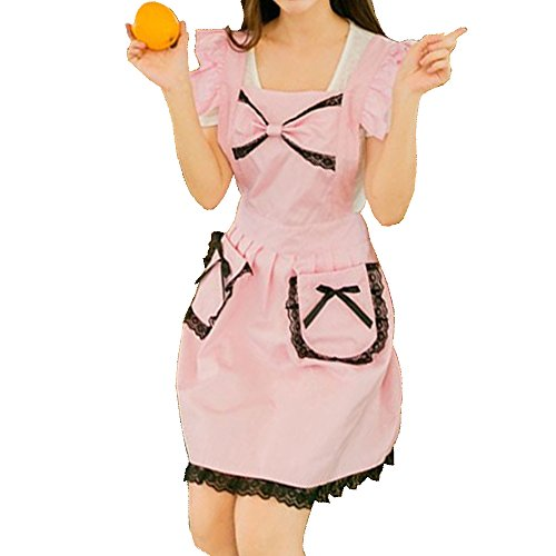 [Marshel Women Apron Japanese Kawaii Maid Costume Big Ribbon Pink] (Rikku Cosplay Costume For Sale)