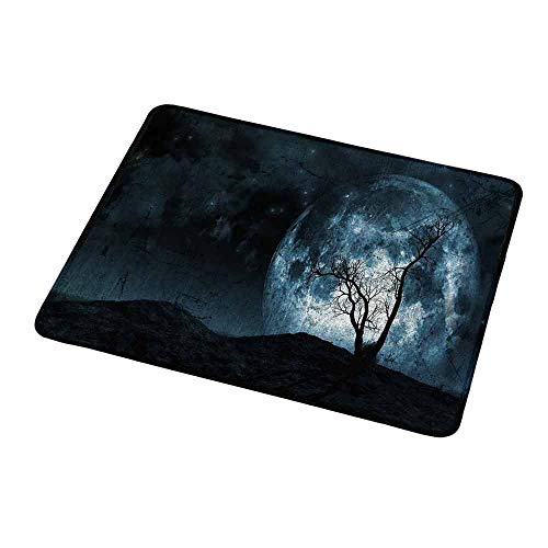 Anti-Slip Gaming Mouse Mat/Pad Fantasy,Night Moon Sky with Tree Silhouette Gothic Halloween Colors Scary Artsy Background,Slate Blue,Gaming Non-Slip Rubber Large Mousepad 9.8