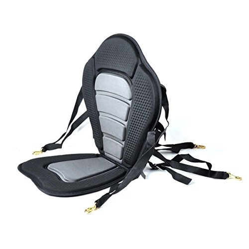 (NKTM Kayak Boat Padded Seat with Backrest Portable Adjustable Strap Detachable Storage Bag for Fishing/Kayaking/Canoeing/Rafting - Black Gray)