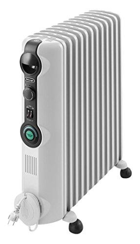 De'Longhi TRRS 1225C Radia S – Radiador, Termostato Ambiente Ajustable, Comfort-Temp, 12 Elementos, Ruedas, Blanco