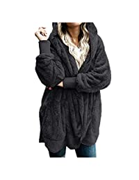 VEZAD Store Plush Fuzzy Faux Shearling Parka Coat Warm Winter Outerwear Cotton Pockect Cardigan