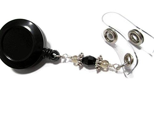 ATLanyards Black and Gray Beaded Lanyard Id Badge Reel with Metal Accents, Beaded 61 (Christmas Lanyards Beaded)