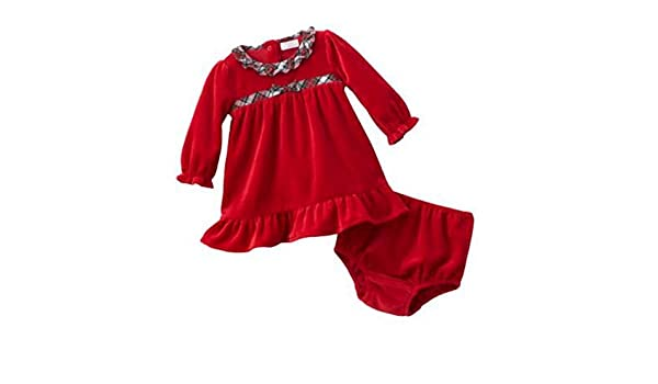 e8ee853b032 Amazon.com  Chaps Infant Girls Red Velvet Party   Holiday Dress with Plaid  Trim  Clothing