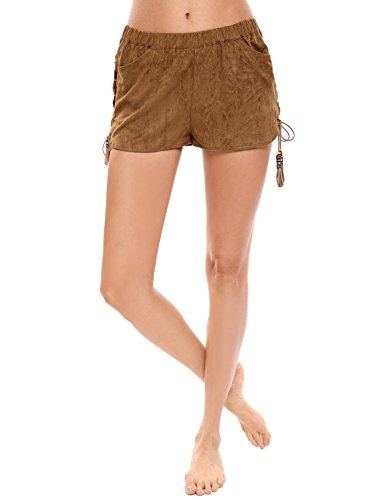 Zeagoo Women's Faux Suede Fringed Laced Side Casual Shorts (Brown Womens Shorts)