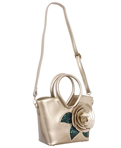 Leather Flower Handbag KAXIDY Ladies Top Messenger Girls Handle Tote Bag Shoulder Gold Patent Satchel qqItZ