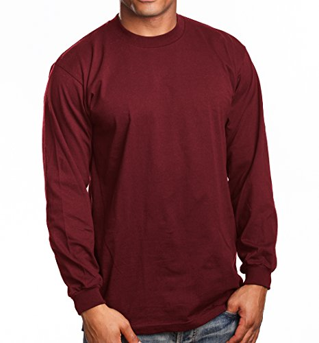 PRO 5 Super Heavy Mens Long Sleeve T-Shirt, X-Large, (Burgundy Long Sleeve Shirt)