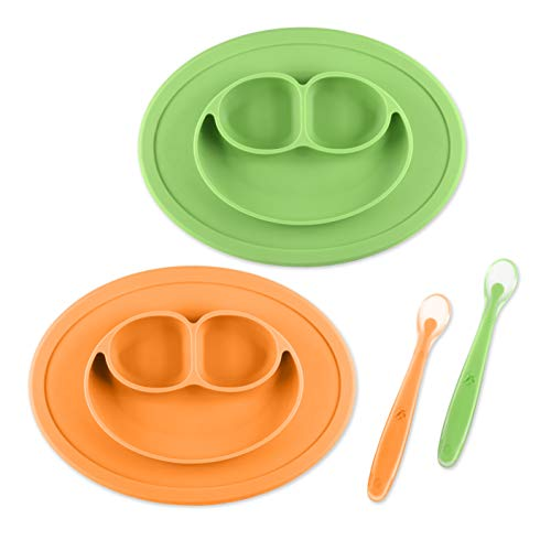Silicone Baby Placemat Mini for Self Feeding - First Years Suction Mini Smile Plate BPA-Free and Safe for Toddler, Infant, Kids - Baby Food Tray Includes Silicone Spoon, Green + Orange