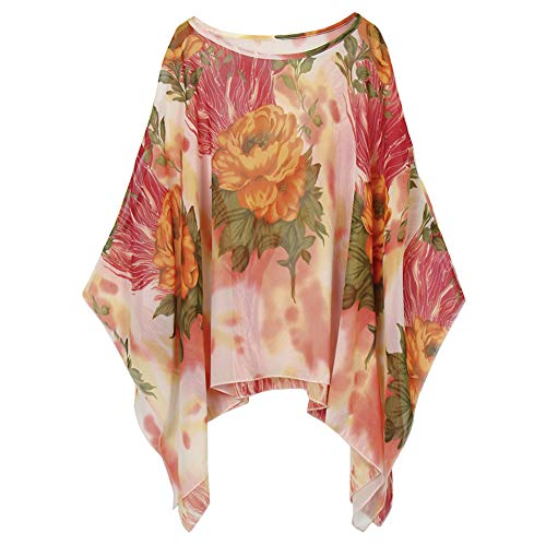 Womens Floral Printed Bohemian Chiffon Blouse Caftan Poncho Tunic Cover up Batwing Loose Tops (Floral Flame)