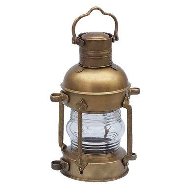 Anchor Oil Lantern Size: 15″ H x 6″ W x 8″ D, Finish: Antique Brass