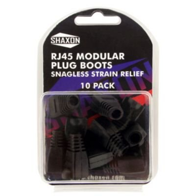(Shaxon,RJ-45 Black Snagless Molded Look Strain Relief Boot 10 Pack)