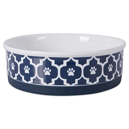 DII Bone Dry Lattice Ceramic Pet Bowl for Food & Water with Non-Skid Silicone Rim for Dogs and Cats (Large - 7.5 Dia x 2.4H) Nautical Blue