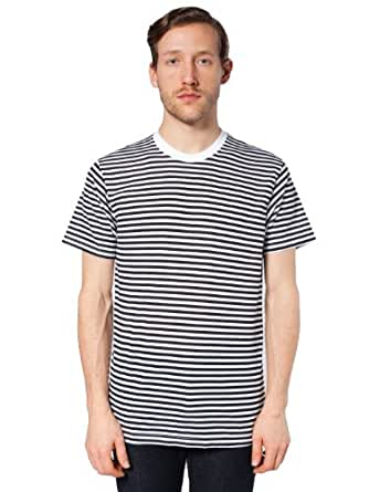 American Apparel Poly-Cotton Stripe Crew Neck X-Large-black