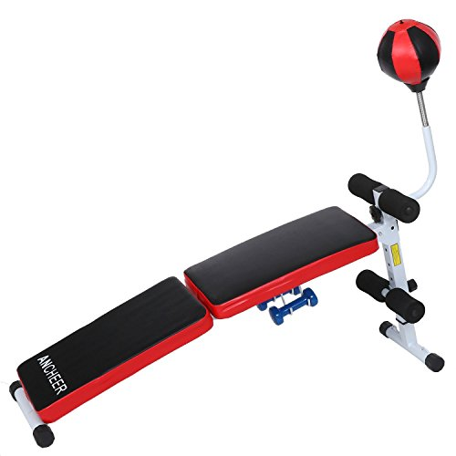 Ancheer Adjustable Folding Gym Weight Bench with Speed Ball Dumbbell