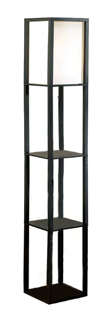 Wood Floor Lamps Square Etagere Floor Lamp Storage And Display Shelf 10.25 X 62.75 X 10.25 Inches Black