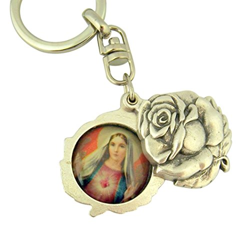 (Religious Gifts Silver Tone Immaculate with Sacred Heart Mary and Jesus Sliding Rosebud Medal Key Chain, 1 3/4 Inch)