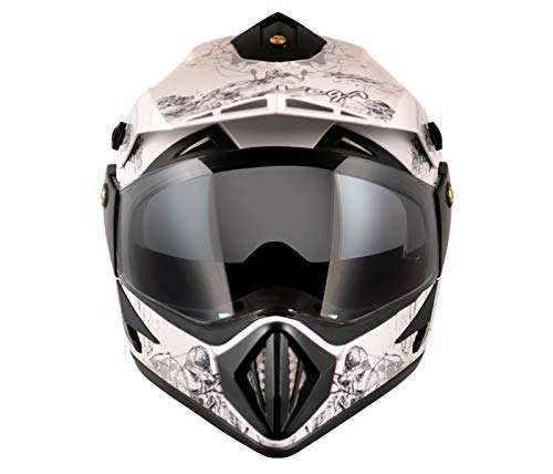 Stylish Off Road D/V Sketch White Silver Helmet-L in India
