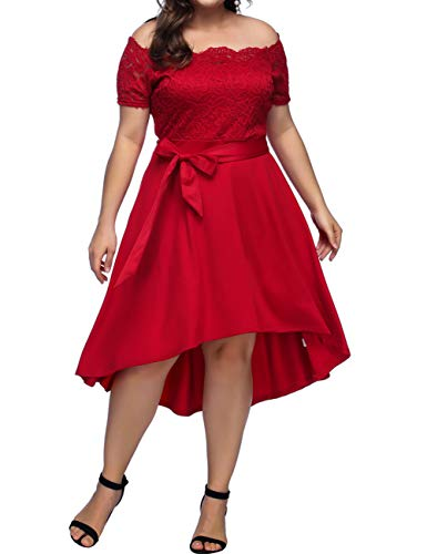 Women's Vintage Floral Lace Short Sleeves Dress Jewel Swing Red