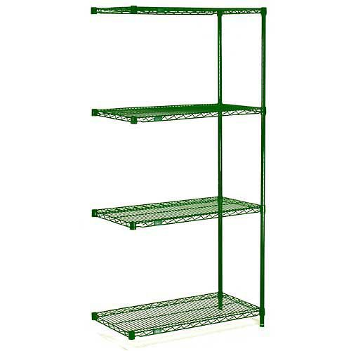 Nexel Wire Shelving Add-On, Green Epoxy, 24