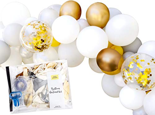 TOKYO SATURDAY 16ft Metalic Gold Silver White Party Balloon Garland Arch Decoration Kit, 222 pcs Kit Balloons and Tools, Birthday, Baby Shower, Wedding Party (Gold White)