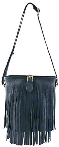Vegan Faux Leather Fringe detail easy carrying Cross body bag (NAVY) Fringe Detail Leather