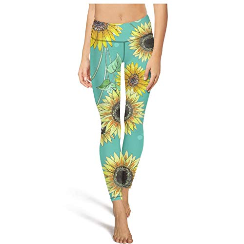 PANDYYOGASS Womens High Waisted Yoga Pants Sunflower Repeat Mint Blue Comfort Pretty Outfits Home Pants Leggings