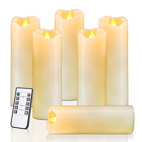 Homemory Flameless Candles Pack of 6 (H6 x D2) Battery Operated LED Pillar Real Wax Flickering Electric Unscented Candles with Remote Control Cycling 24 Hours Timer