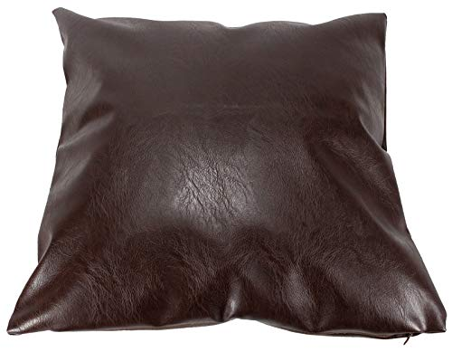 A1 Depot Faux Leather Pillow Covers Set of 2 for Couch Sofa Chair Bed Modern Home Decor - Luxury Soft Thick & Durable Decorative Throw Pillows Cases - Farmhouse Decoration (Dark Brown, 18