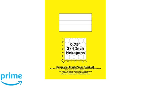 "Hexagonal Graph Paper Notebook: 3/4 Inch (0.75"") Hexagons"