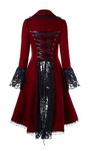 Rojo Irregular Invierno Casuales Outerwear Encaje Con Chaquetas O7ttCq1w