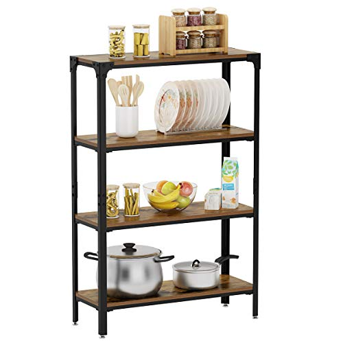 LANGRIA 4-Tier Vintage Style Shelving Unit Storage, Wall Shelves with Metal Frame and Wooden Board for Bedroom Living Room Bathroom Office and More (Height 47.6 inches, Max Load 220 lbs.) (Wall Storage Units)
