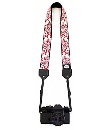 Mod Straps Red & White Damask Classic Camera Strap