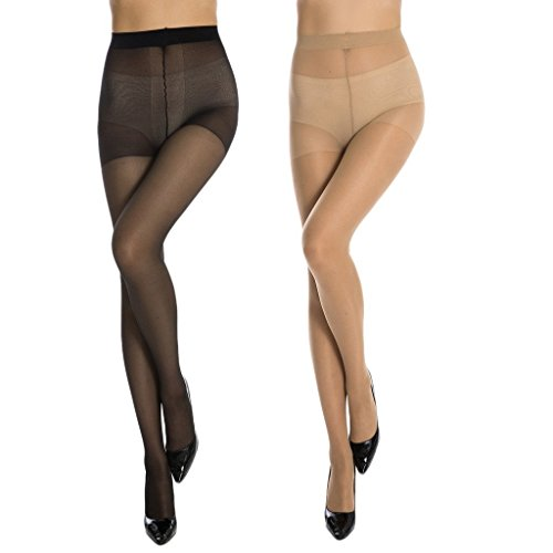 MANZI Women's Ultra Sheer Control Top stocking-20 Denier with Comfort Stretch(2 Pairs) Size - Nude Transparent