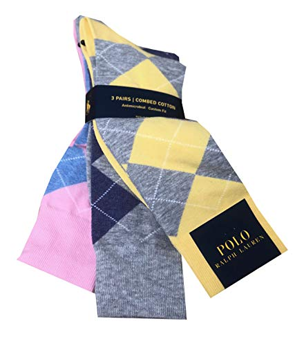 Polo Ralph Lauren Mens 3 Pair Antimicrobial Combed Cotton Argyle Sock (One size, Yellow/purple/pink) ()